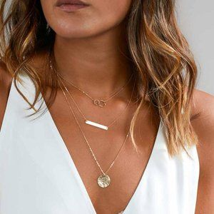 Layered Bar & Coin Necklace (Gold)